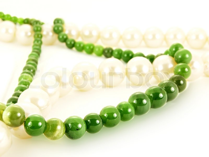 Stock image of 'Green emerald gemstone necklace'
