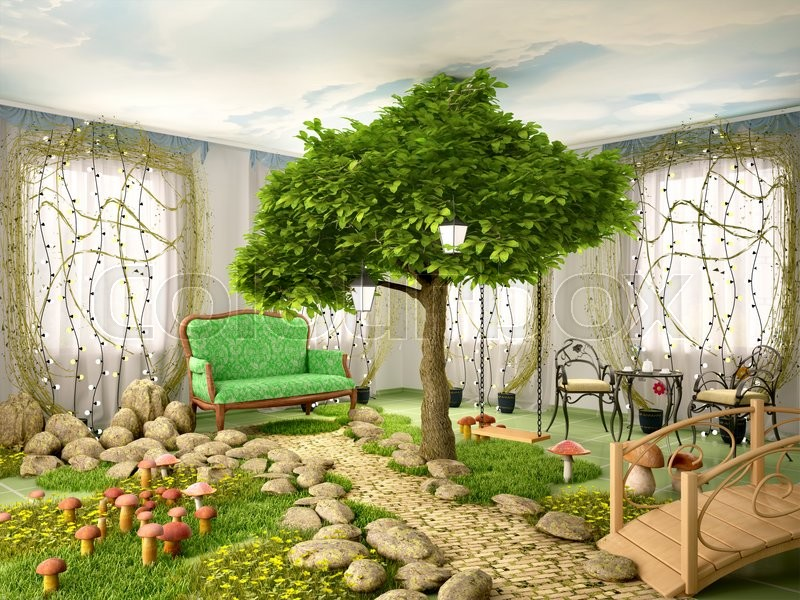 3d illustration of concept of eco home  room full of plants  tree  grass  stones  mushrooms and