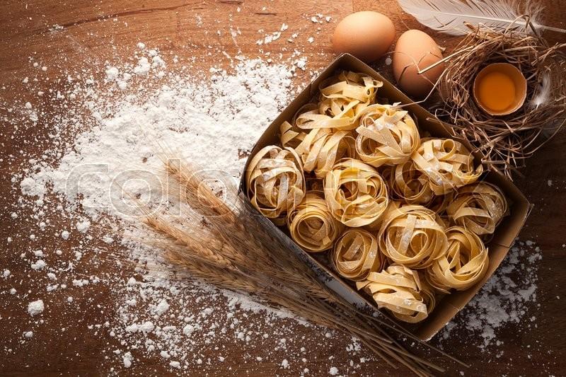 Fettuccine Pasta Italian Food Still Life Rustic Flat Lay Wood Background Tagliatelle Alfredo Yolk