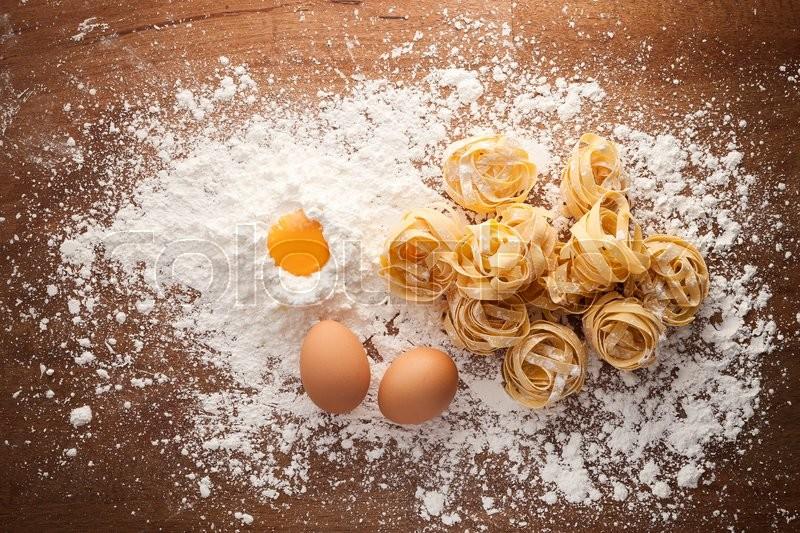 Fettuccine Pasta Italian Food Still Life Rustic Flat Lay Wood Background Tagliatelle Alfredo Yolk Egg