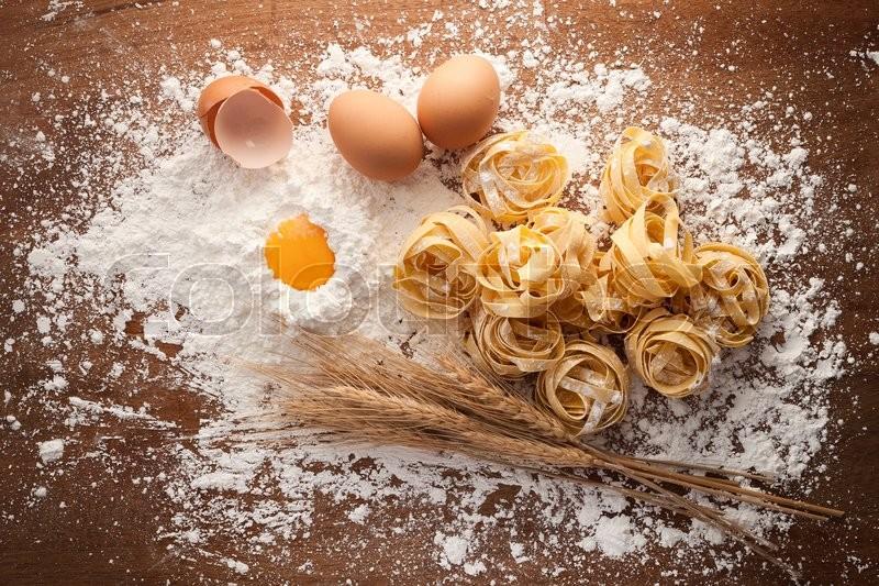 Fettuccine Pasta Italian Food Still Life Rustic Flat Lay Wood Background Tagliatelle Alfredo Yolk Egg Flour