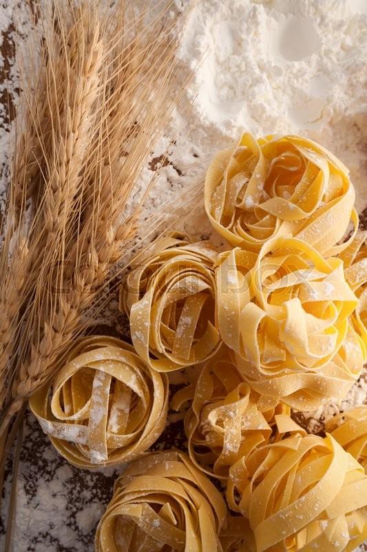 Fettuccine Pasta Italian Food Still Life Rustic Flat Lay Wood Background Tagliatelle Alfredo Close Up Macro