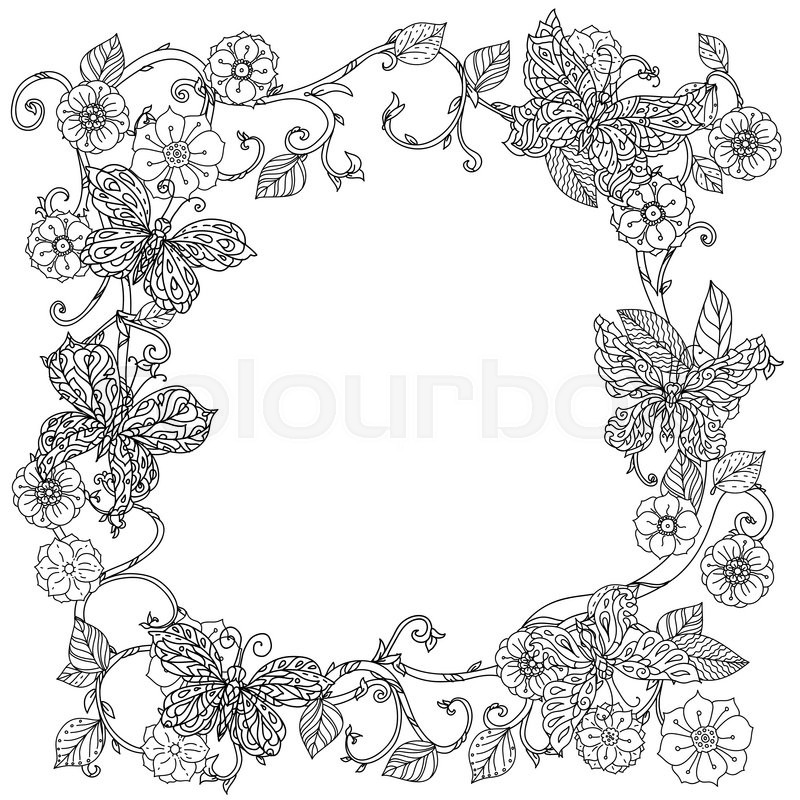 Uncoloured Frame Flowers And Butterfly Stock Vector