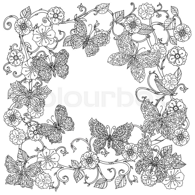 Stock Vector Of Uncoloured Frame Flowers And Butterfly For Adult Coloring Book In Famous Zenart