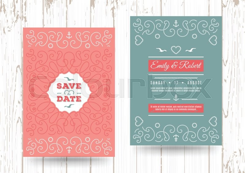 Wedding invitation card template Nautical save the date cards