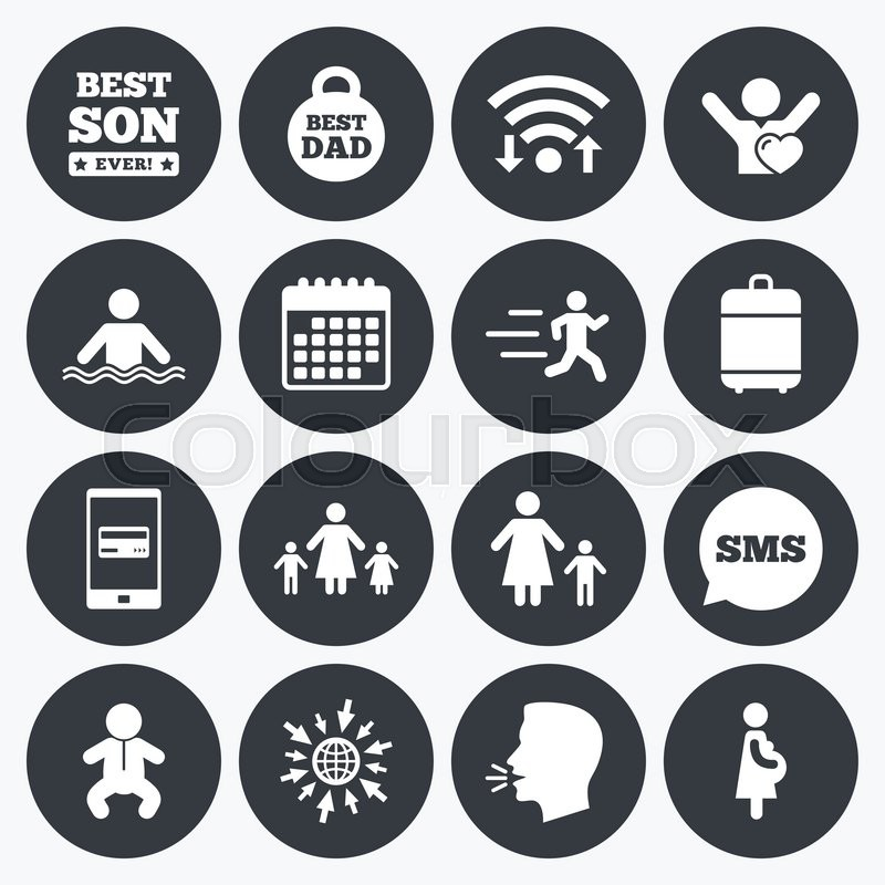 Wifi, calendar and mobile payments. People, family icons. Swimming, baby and pregnant woman signs. Best dad, runner and fan symbols. Sms speech bubble, go to web symbols, vector