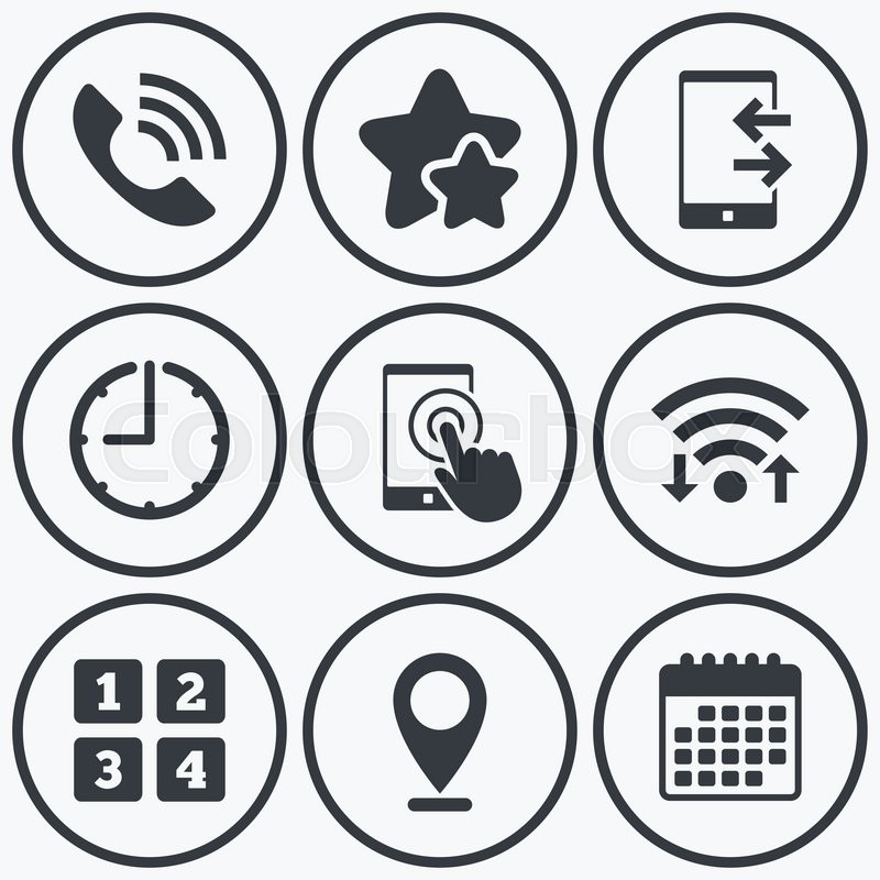 Clock Wifi And Stars Icons Phone Icons Touch Screen Smartphone