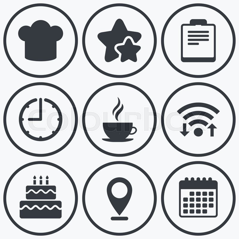 Clock Wifi And Stars Icons Coffee Cup Icon Chef Hat Symbol