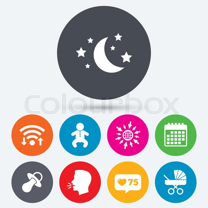 Wifi Like Counter And Calendar Icons Moon And Stars Symbol Baby