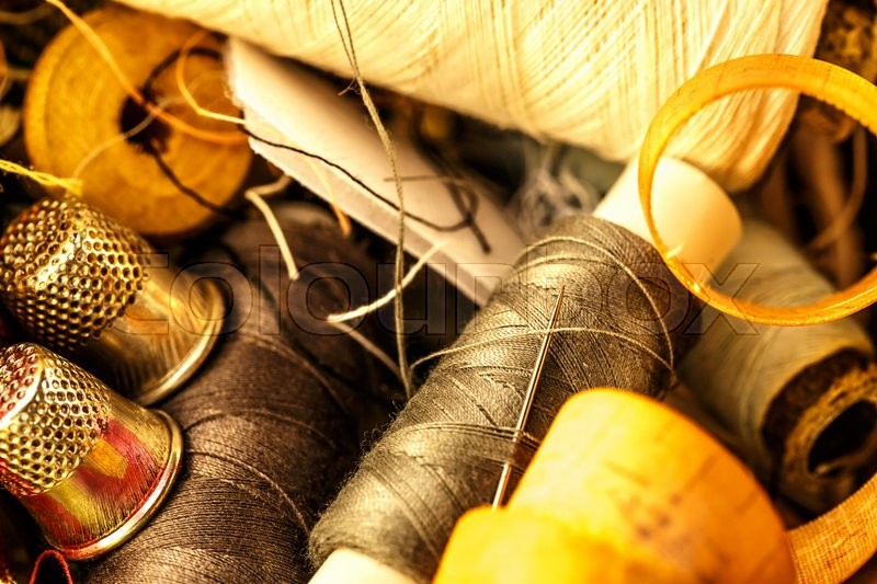 Sewing items all in a heap closeup, stock photo
