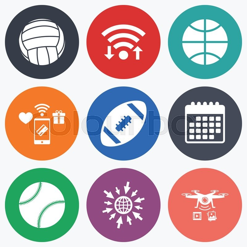 Wifi, mobile payments and drones icons. Sport balls icons. Volleyball, Basketball, Baseball and American football signs. Team sport games. Calendar symbol, vector