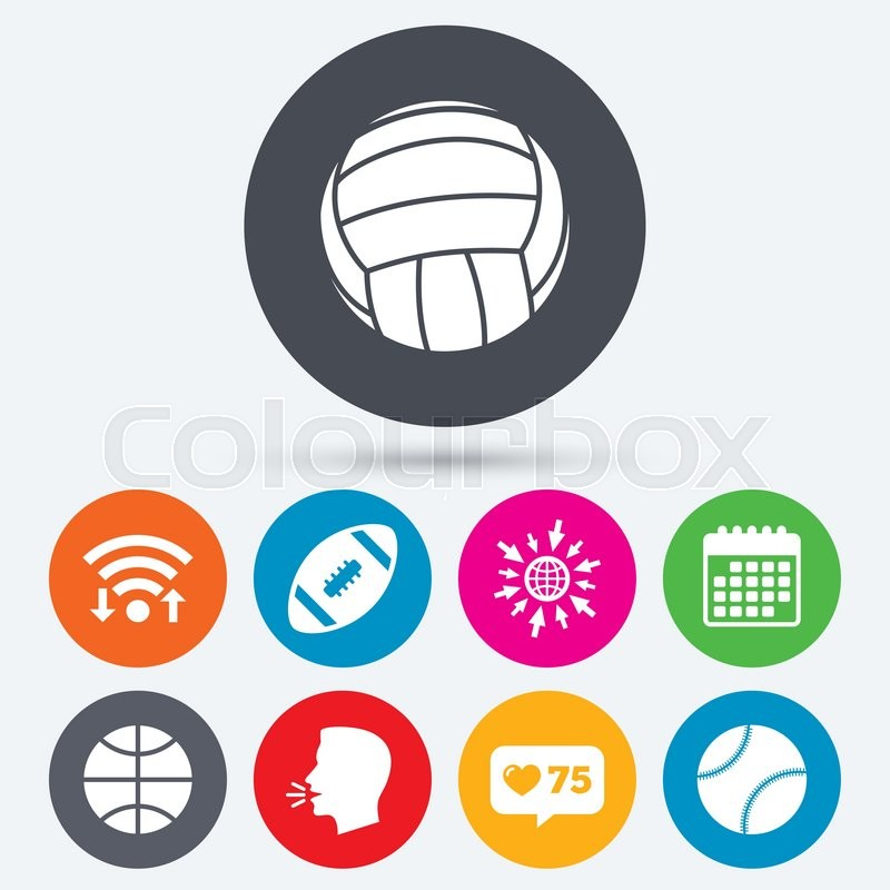 Wifi, like counter and calendar icons. Sport balls icons. Volleyball, Basketball, Baseball and American football signs. Team sport games. Human talk, go to web, vector