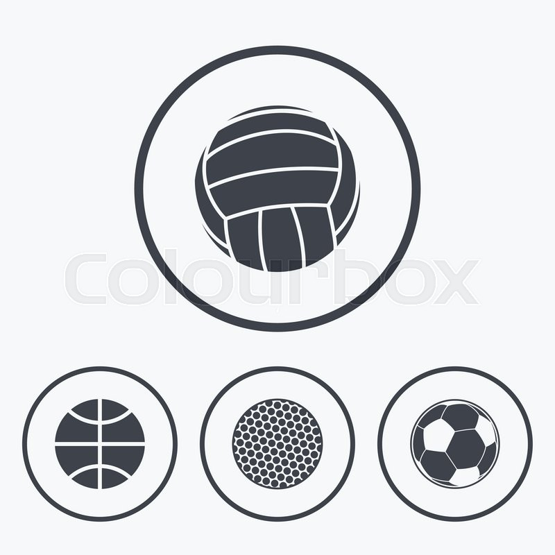 Sport balls icons. Volleyball, Basketball, Soccer and Golf signs. Team sport games. Icons in circles, vector