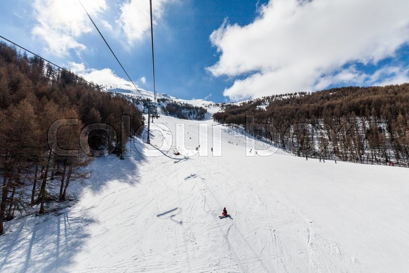 Ski resort Les Orres, Hautes-Alpes, France, stock photo