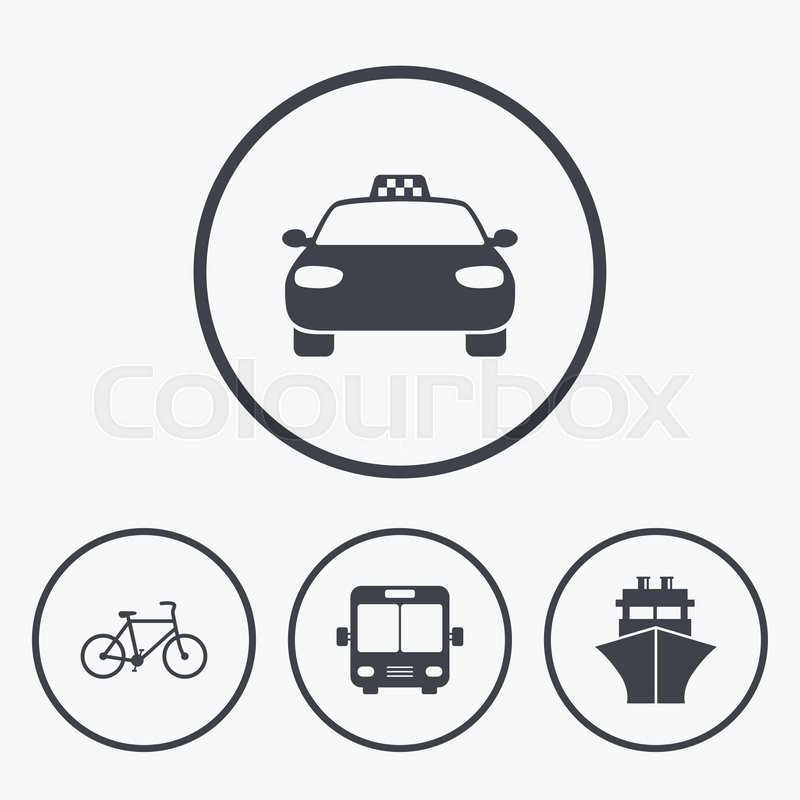 Transport icons. Taxi car, Bicycle, Public bus and Ship signs. Shipping delivery symbol. Family vehicle sign. Icons in circles, vector