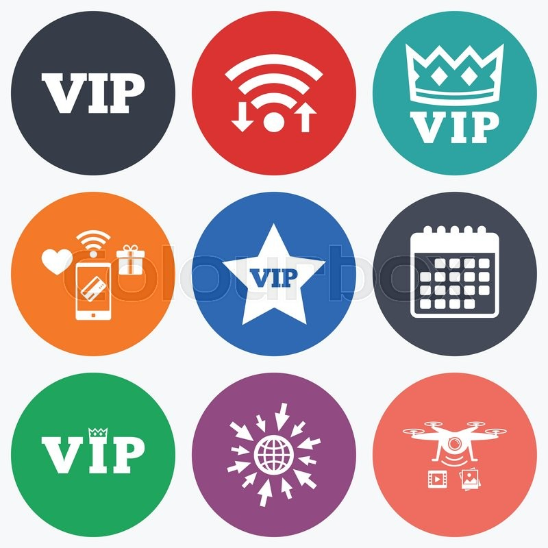 Wifi Mobile Payments And Drones Icons Vip Icons Very Important