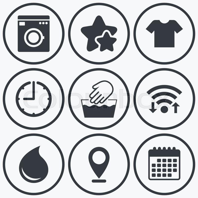 Clock Wifi And Stars Icons Wash Machine Icon Hand Wash T Shirt