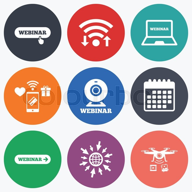 Wifi Mobile Payments And Drones Icons Webinar Icons Web Camera