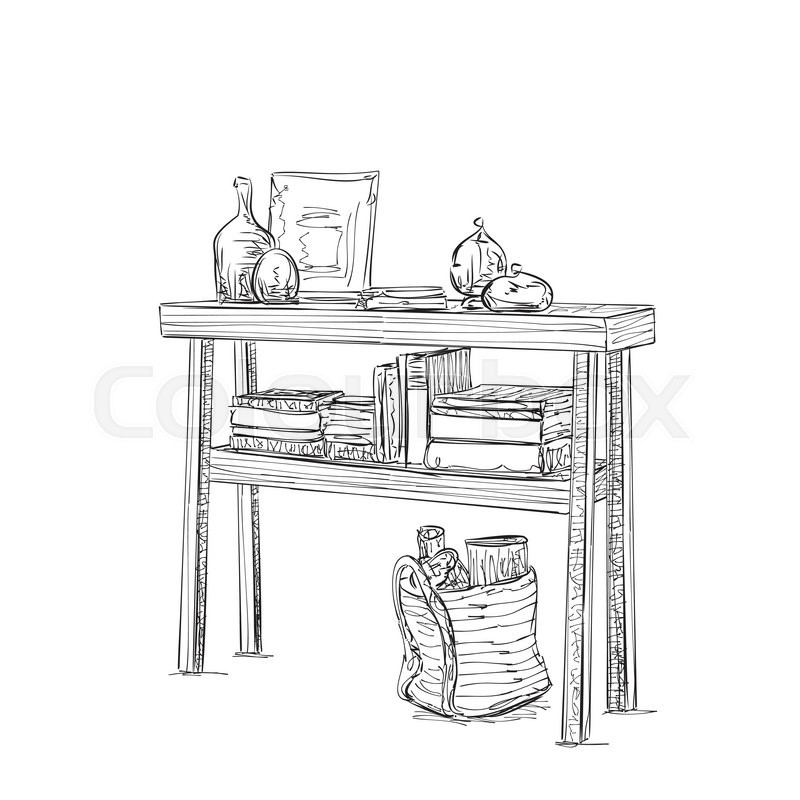 Hand Drawn Table, Dishes And Books. Furniture Sketch. Interior For Pupil Or  Student, Vector