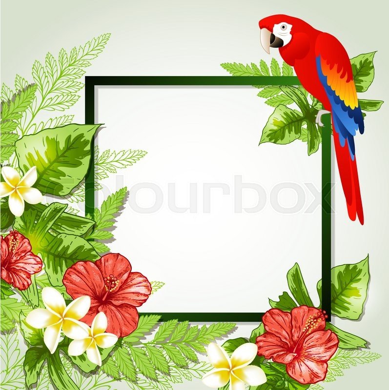 Summer background with red tropical flowers and parrot. Decorative ...