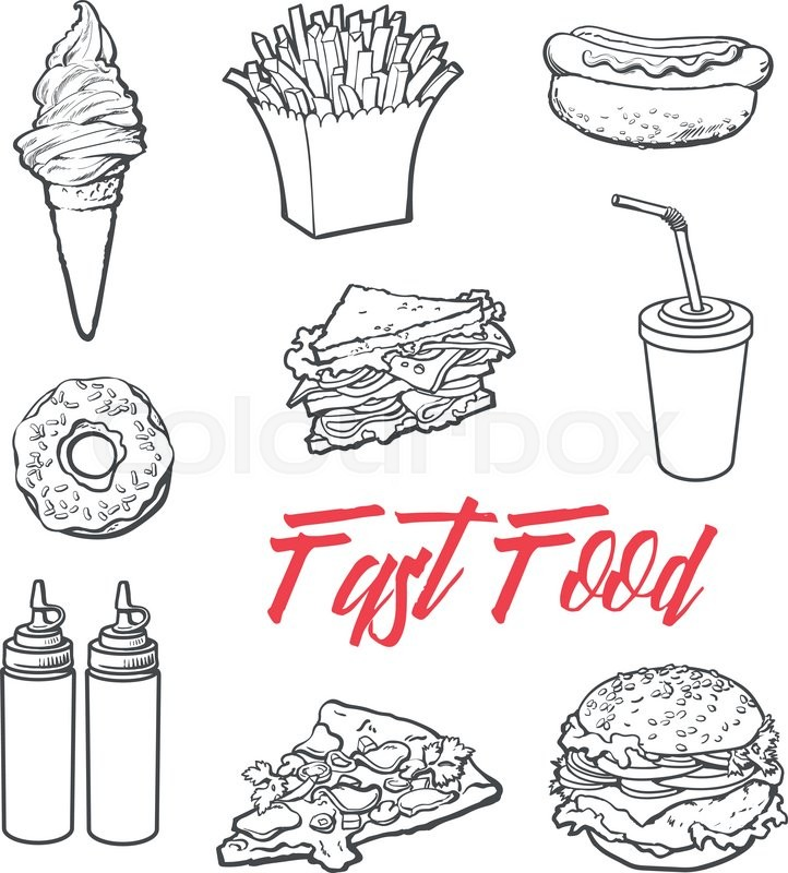 Set Fast Food Meal Vector Sketch Stock Vector Colourbox