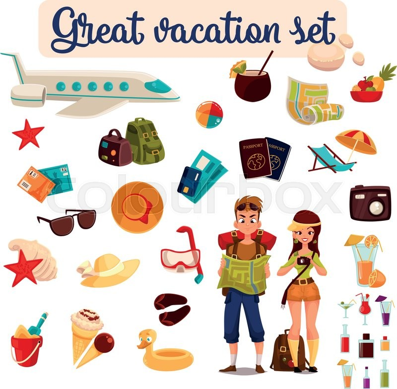 Set Travel Concept Summer Vacation On The Beach Cartoon Tourists Go Hiking In Travel Between Countries Vacation Set Of Vector Elements Of Icons Card Ticket Airplane Passport Beach Stuff Plane Vector 18793499 on Educational Stuff