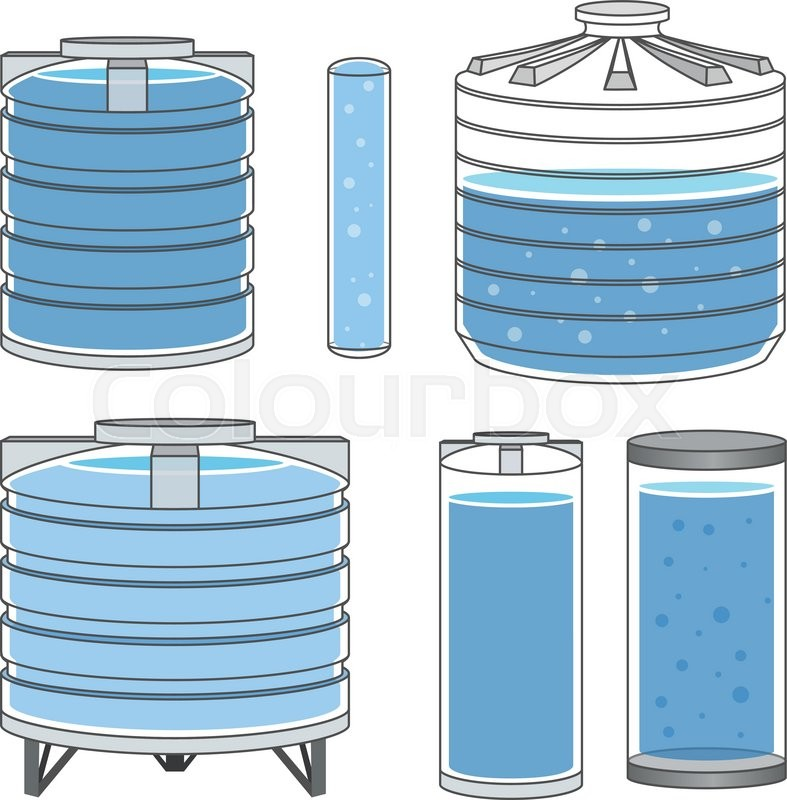 Industrial Water Tanks Full Set Vector Illustration