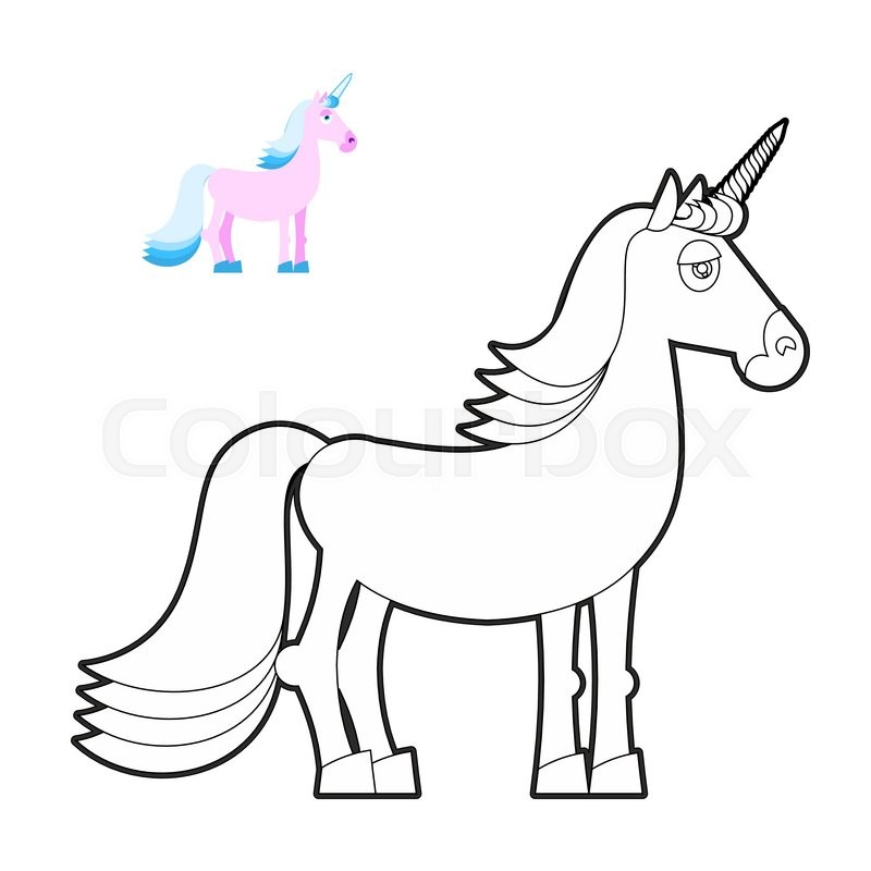 Unicorn coloring book. Fantastic animal in linear style. Fabulous ...