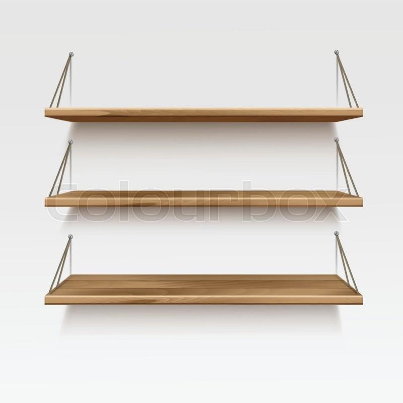Vector empty wooden wood shelf shelves isolated on wall for Estanterias maison du monde