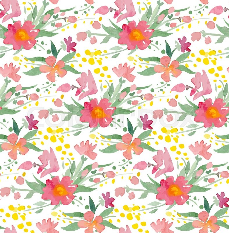 Seamless Pattern With Watercolor Flowers Illustrator Swatch Transparent Background Included Great For Wedding And Birthday Invitations