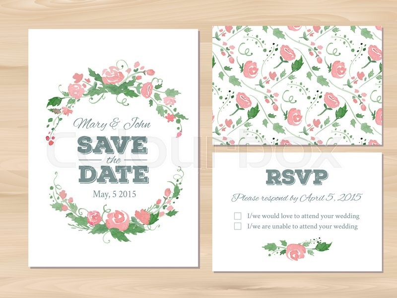 wedding set with watercolor flowers and typographic elements save