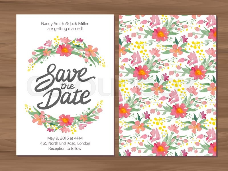 save the date wedding invitation with watercolor flowers and hand