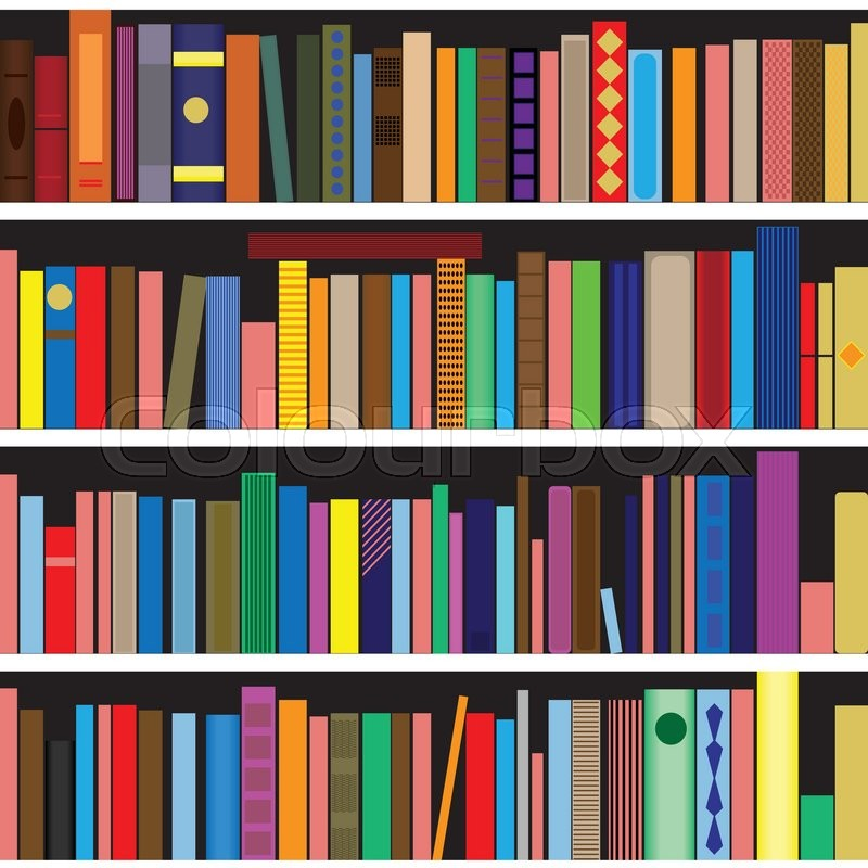 Books vector seamless texture vertically and horizontally. Bookshelf  background. | Stock Vector | Colourbox