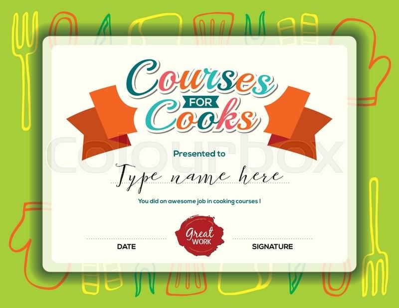 Kids Cooking Courses Certificate Design Template Stock Vector