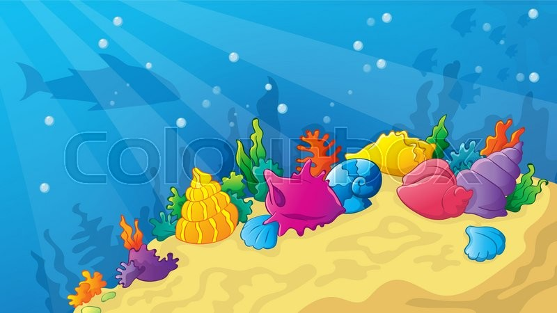 Vector Cartoon Underwater World With Shells And Corals