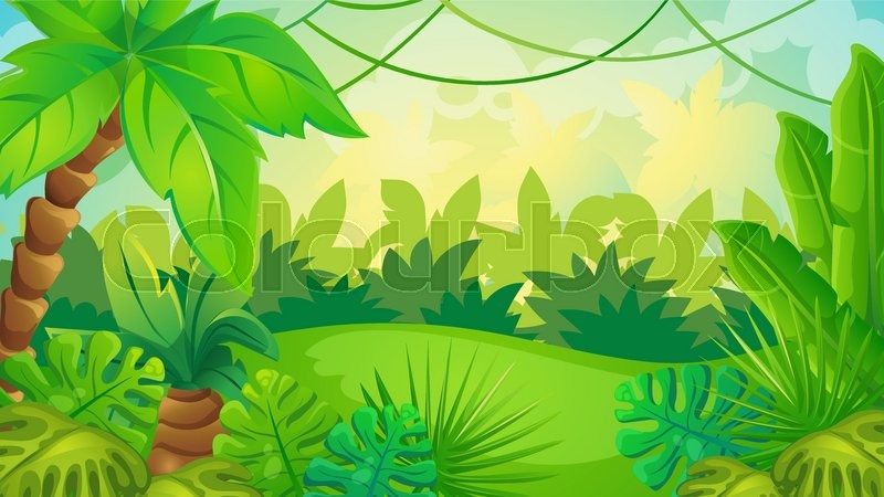 vector cartoon game background of green jungle landscape stock rh colourbox com jungle cartoon background free cartoon jungle background vector free download