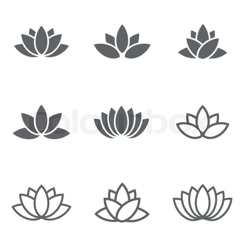 vector black lotus icons set on white background lotus