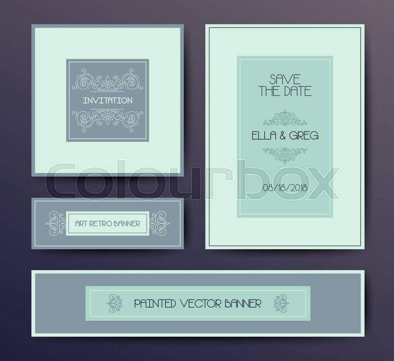 Vector modern elegant postcard design templates, wedding invitation ...