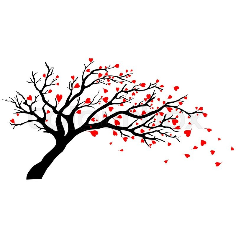 Vector Tree Silhouette Isolated On White Backgorund