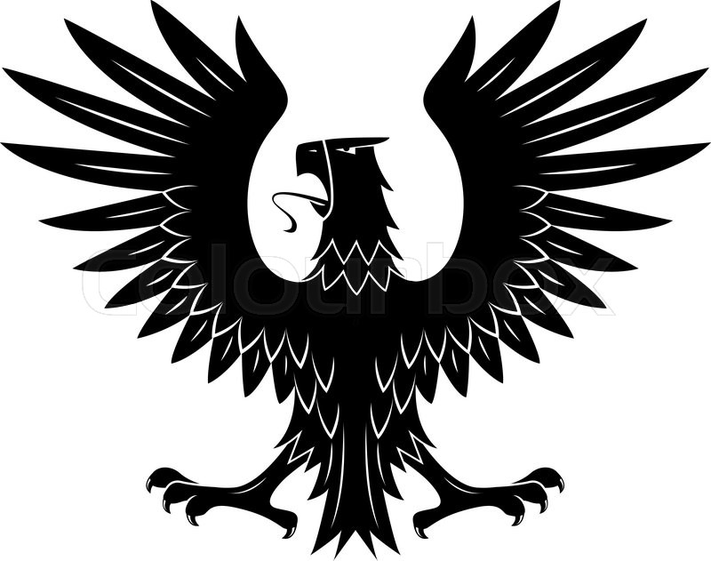 Eagle Wings Spread Black And White Clipart