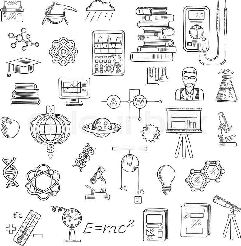 physics  chemistry and astronomy sketch icons for