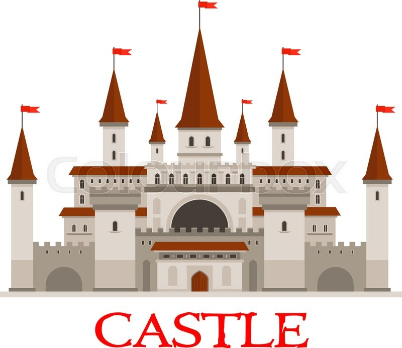 Medieval Castle Or Fortress Icon With Stock Vector Colourbox