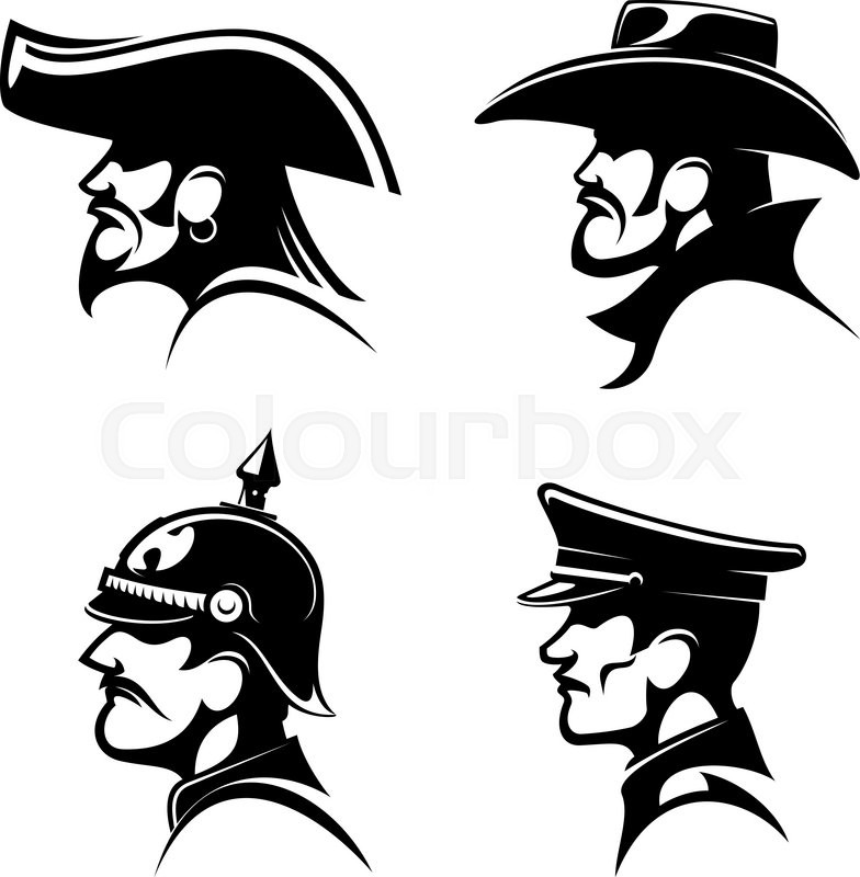 Black Profiles Of Brutal Cowboy In Leather Hat Bearded Pirate With