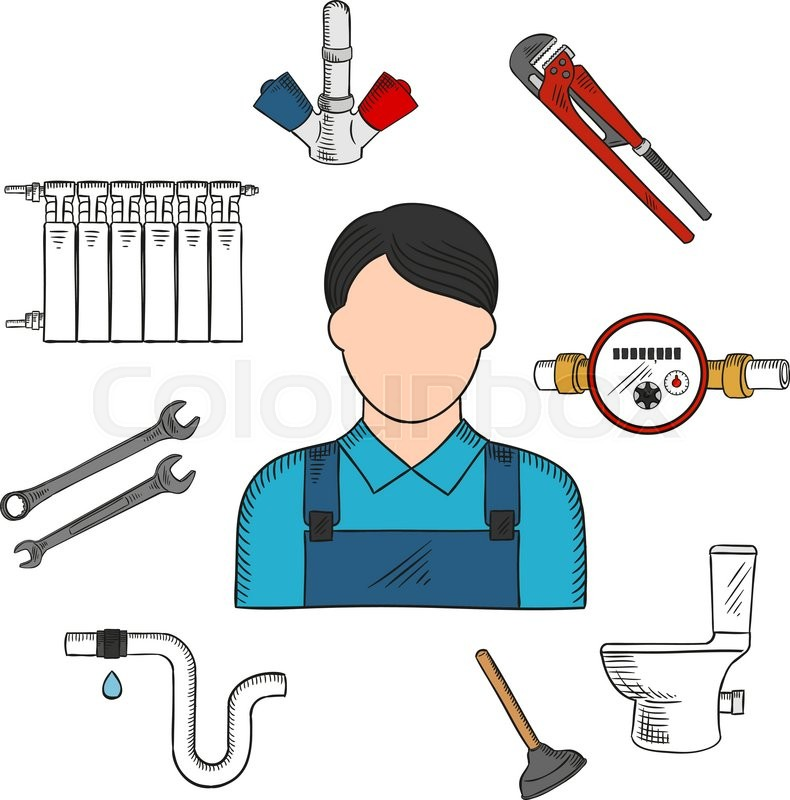 Colored sketch of plumber with hand tools and equipments such as ...