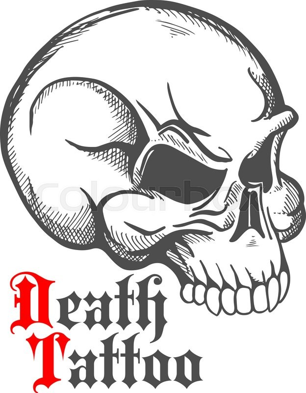 Decorative vintage sketch of human skull for tattoo or for Symbols of death tattoos