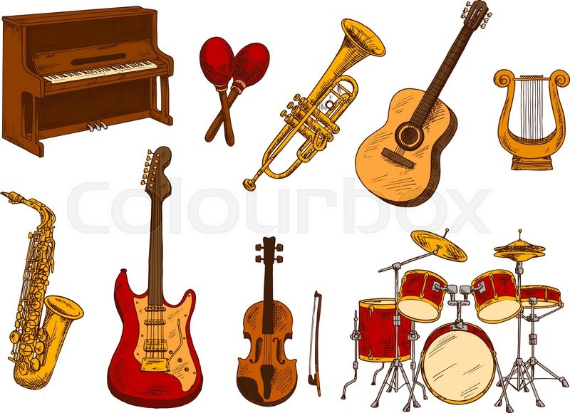 Classical orchestra musical instruments retro sketch with ...