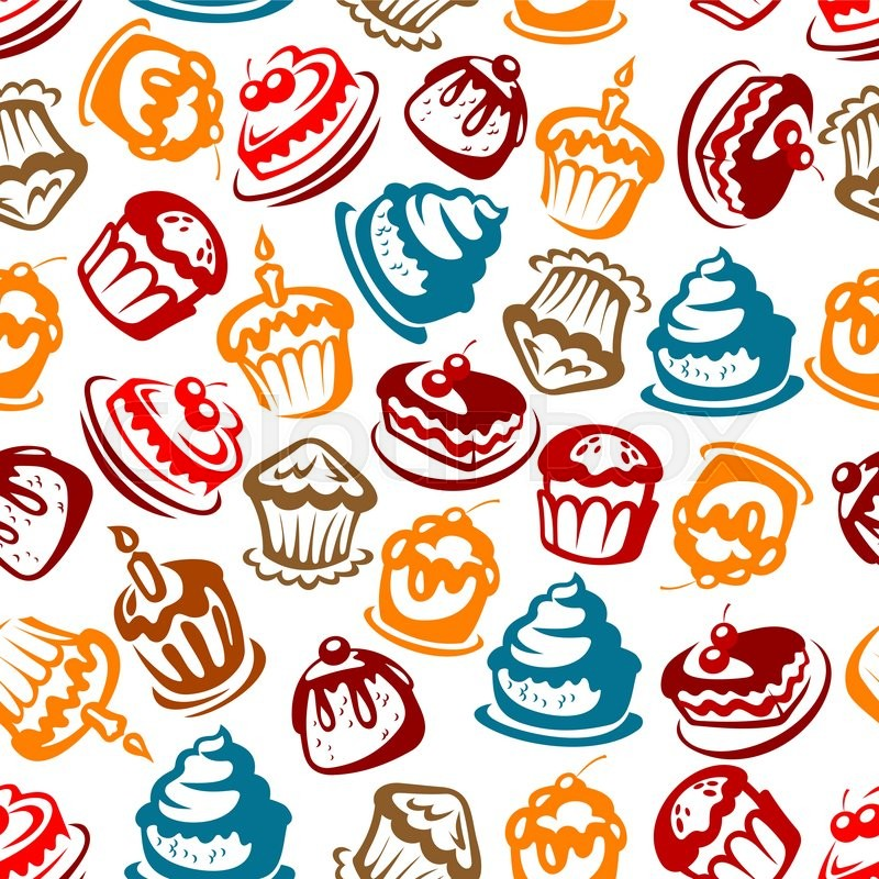 Colorful Seamless Birthday Cakes Pattern For Celebration Party And Festive Backdrop Design With Bright Sketches Of Cakes Cupcakes Berry Pies And