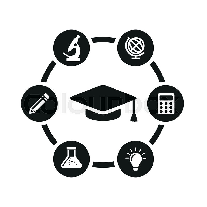 Vector black education icon set. Education Icon Object, Education ...