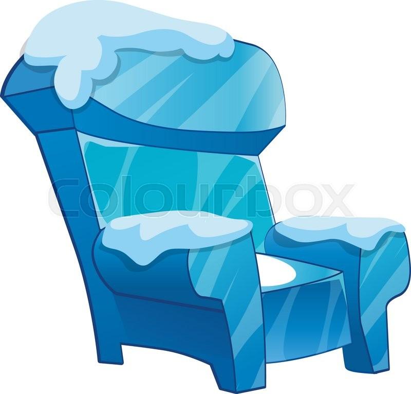 Ice Chair With Snow Cartoon Chair Isolated Vector