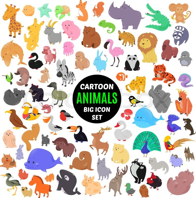 Big set of cute cartoon animal icons isolated on white background 800pxcolourbox18806982g voltagebd Gallery